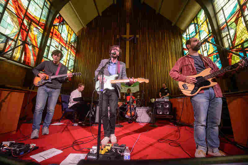 At 1:00 a.m., Real Estate's set at Central Presbyterian Church was perfectly calm — the complete opposite of the chaos on 6th Street.