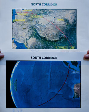 Two satellite maps of the possible location of the missing Malaysia Airlines Flight M