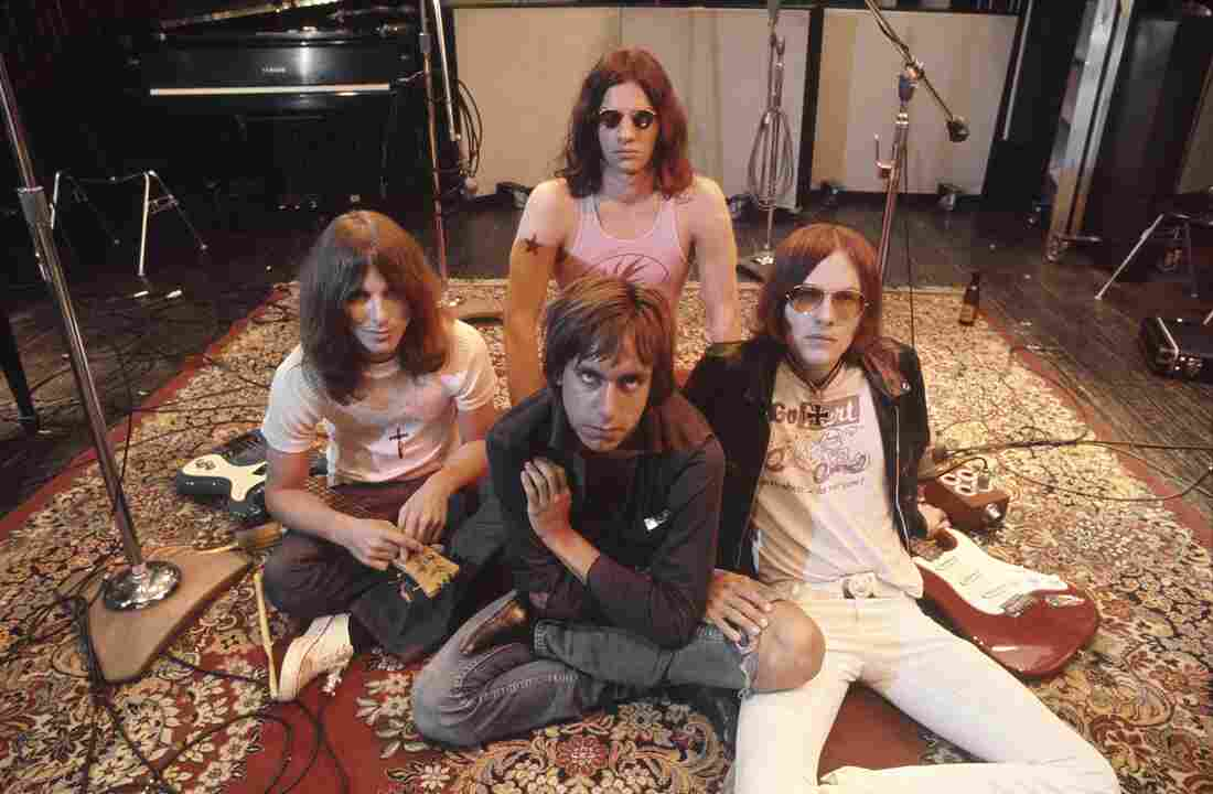 The Stooges (L-R Dave Alexander, Iggy Pop in front, Scott Asheton in back and Ron Asheton) in the studio in 1970, during the making of their second album, Fun House.