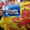 Pro-independence campaigners attend a rally In Edinburgh, Scotland, in September.