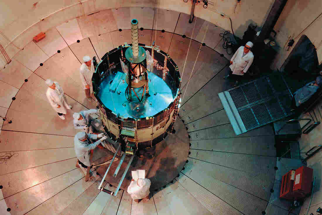 Early days: NASA's International Sun-Earth Explorer C (also known as ISEE-3 and ICE) was undergoing testing and evaluation inside the Goddard Space Flight Center's dynamic test chamber when this photo was snapped in 1976.