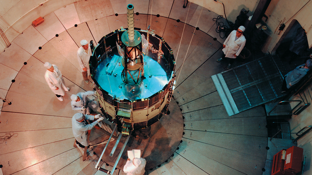 Early days: NASA's International Sun-Earth Explorer C (also known as ISEE-3 and ICE) was undergoing testing and evaluation inside the Goddard Space Flight Center's dynamic test chamber when this photo was snapped in 1976. (NASA)