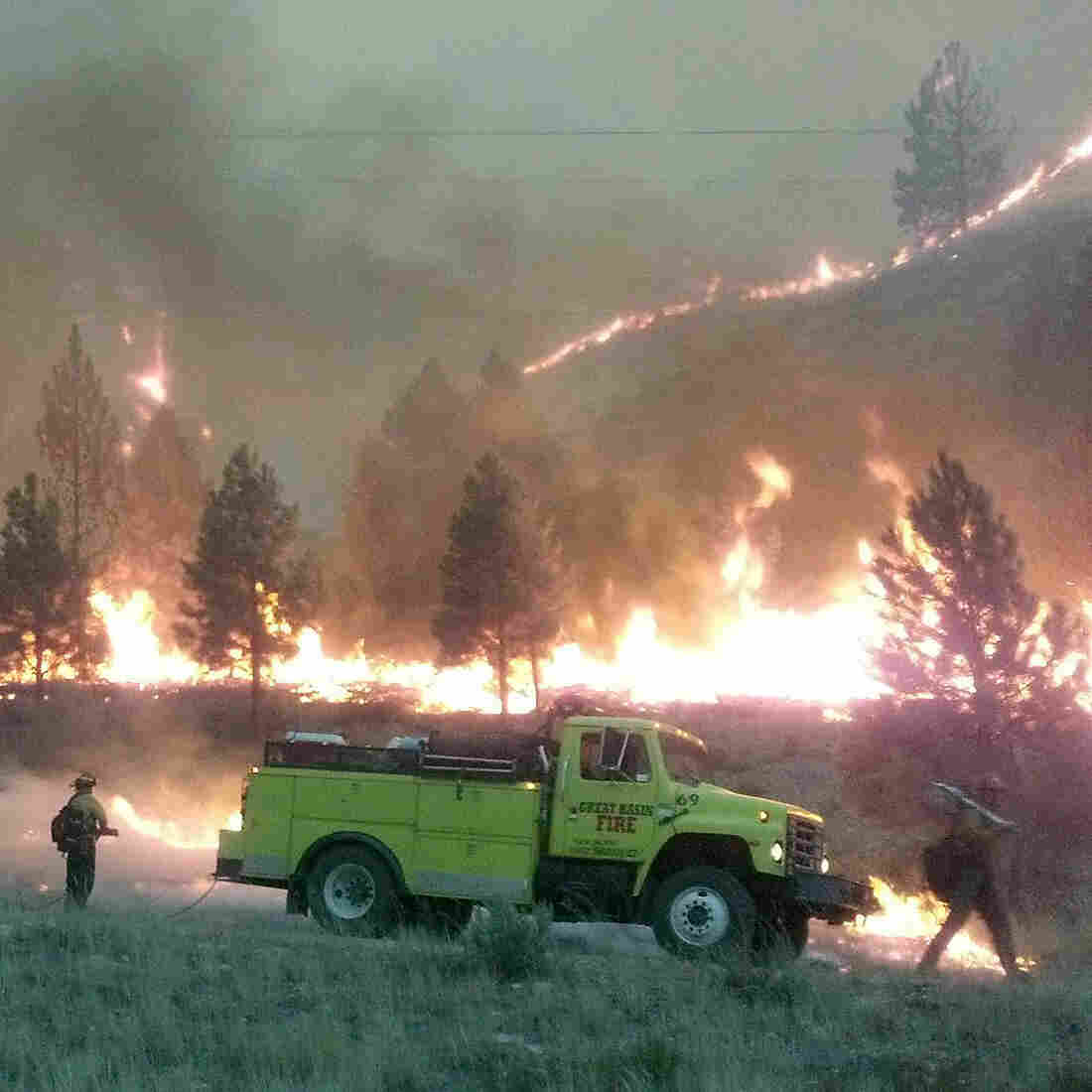 A U.S. Forest Service photo shows firefighters near the perimeter of the Elk Complex fire near Pine, Idaho, last summer. Lawmakers are calling for a change in the way America pays for wildfire disasters.