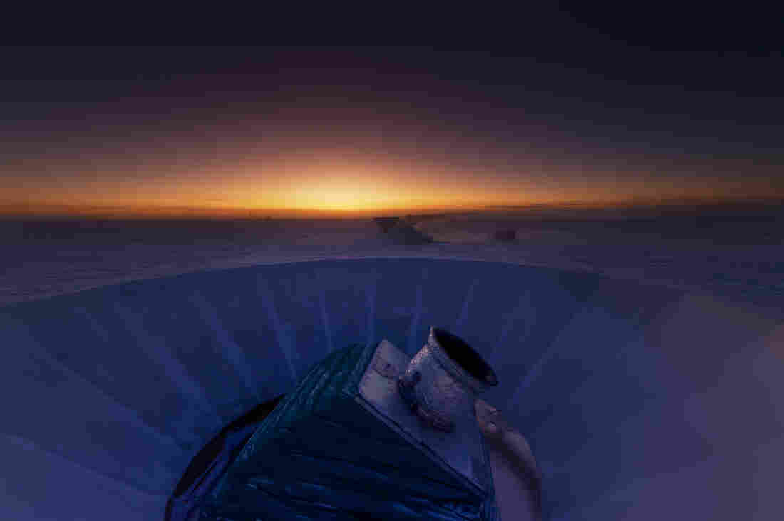 The BICEP2 telescope at twilight, which occurs only twice a year at the South Pole.