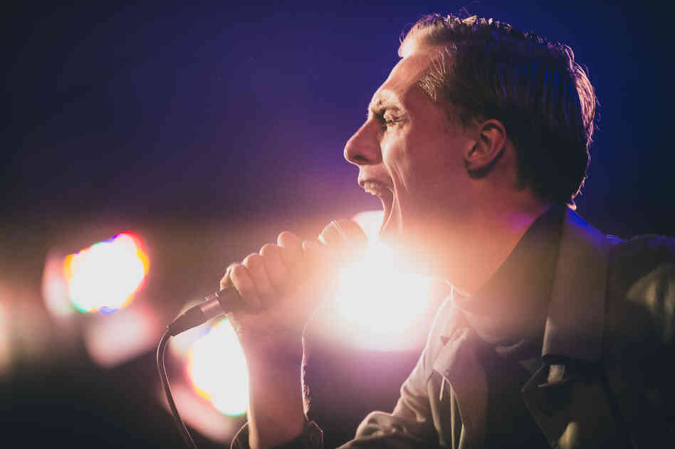 Eagulls lead singer George Mitchell performs during NPR Music's SXSW showcase at Stubb's BBQ in Austin.