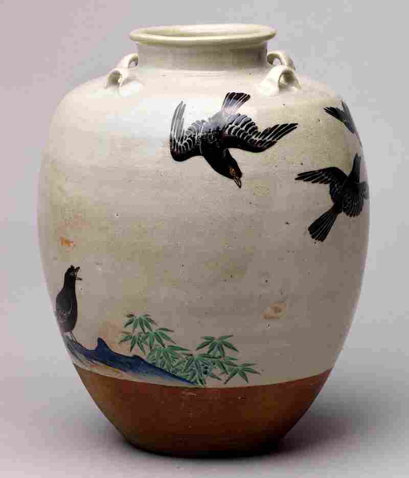 This Japanese jar with a design of mynah birds was made by Nonomura Ninsei in the 1670s. It is made of stoneware with colored and silver enamels over white glaze.