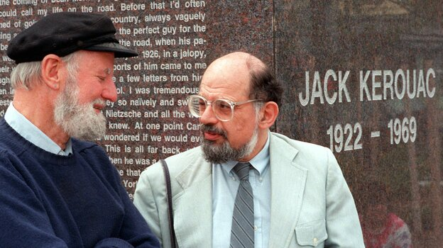 Poets Lawrence Ferlinghetti (left) and Allen Ginsberg chat in 1988 during the dedication of public art dedicated to Jack Kerouac in Lowell, Mass.