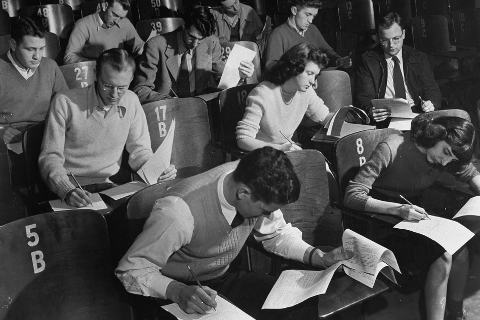 World War II veterans and other students at the University of Iowa in 1947. That year, due to federal assistance from the GI Bill, 60 percent of the school's enrollment was made up of veterans. (Margaret Bourke-White/Time Life Pictures/Getty Images)