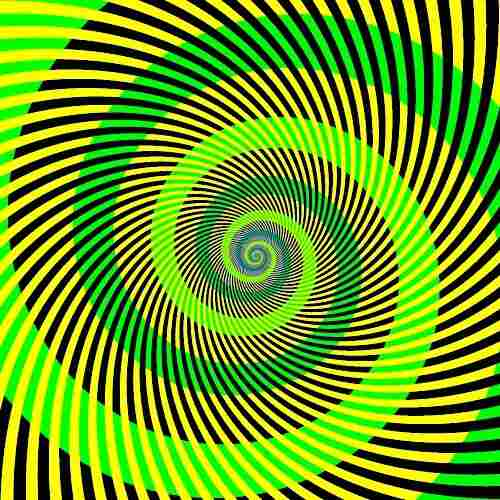 Green, yellow, black spiral pattern