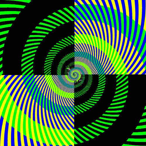 Green, blue, black, yellow spiral pattern in quadrants