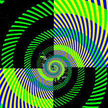 Green, blue, black, yellow spiral pattern in quadrants