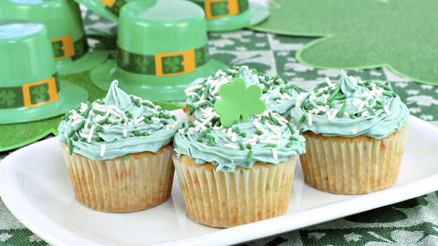 Green cupcakes may mean party time in America, but in Ireland, emerald-tinged edibles harken