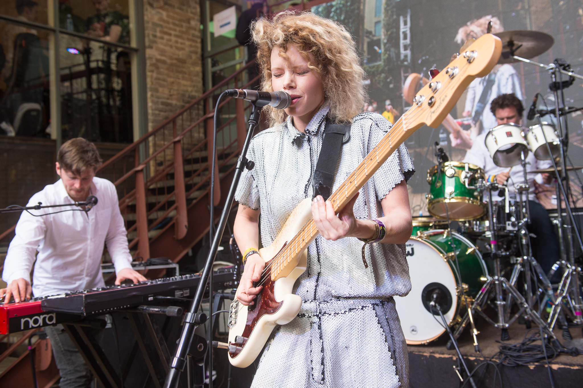 Norwegian bassist and singer Maya Vik performs at Cedar Street Courtyard.