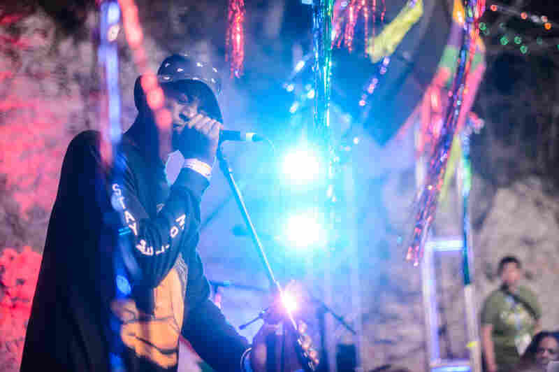 Yannick Ilunga of Petite Noir at Cheer Up Charlie's during SXSW 2014.