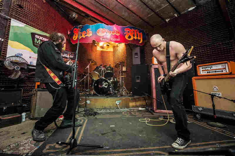 Doom metal trio Pilgrim perform at Austin's Red Eyed Fly.