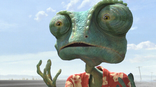 Lizard Of Ahs: After arriving in Dirt, Texas, an ordinary pet chameleon (Johnny Depp) re-creates himself as the sheriff of that crime-ridden desert town in Rango. In an ingenious animated