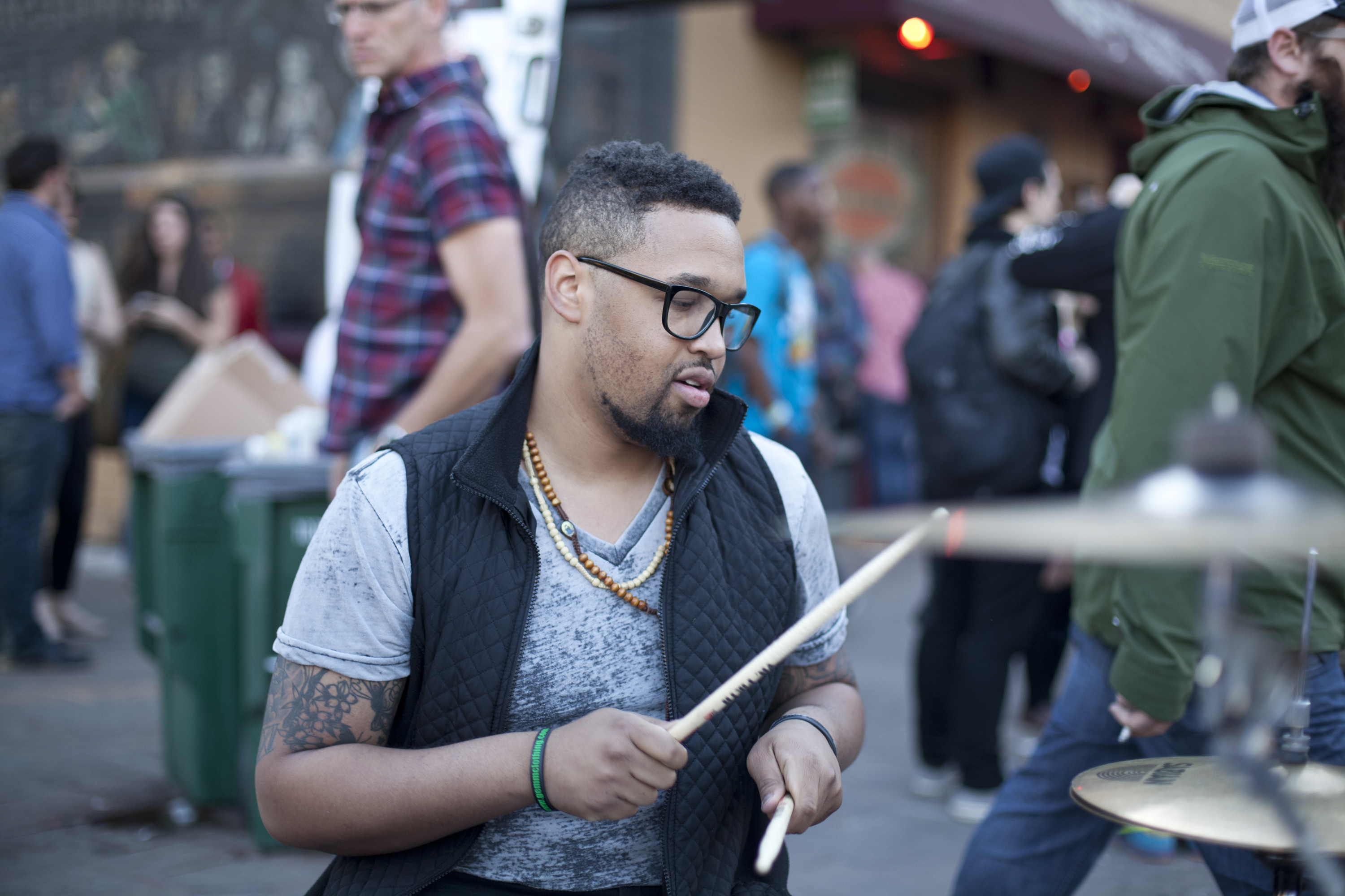 Drums on the street in Austin during SXSW 2014