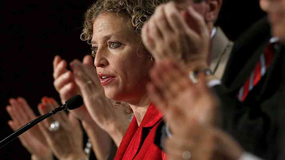 Democratic National Committee Chairwoman Debbie Wasserman Schultz speaks to party members during their meeting last summer in Scottsdale, Ariz.
