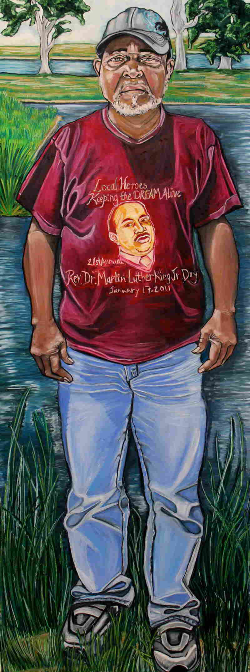 Gary Barthelmy, Oyster Fisherman is a portrait by Reeva Wortel, used in conjunction with the production of Spill, a play that runs through March 30 at the Swine Palace in Baton Rouge.