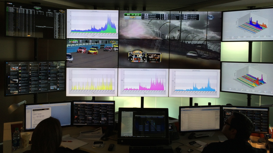 In the NASCAR Fan and Media Engagement Center, 13 46-inch TV screens display charts, tweets and live races. (WFAE)