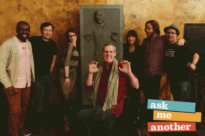 The Ask Me Another staff meets Han Solo frozen in carbonite.