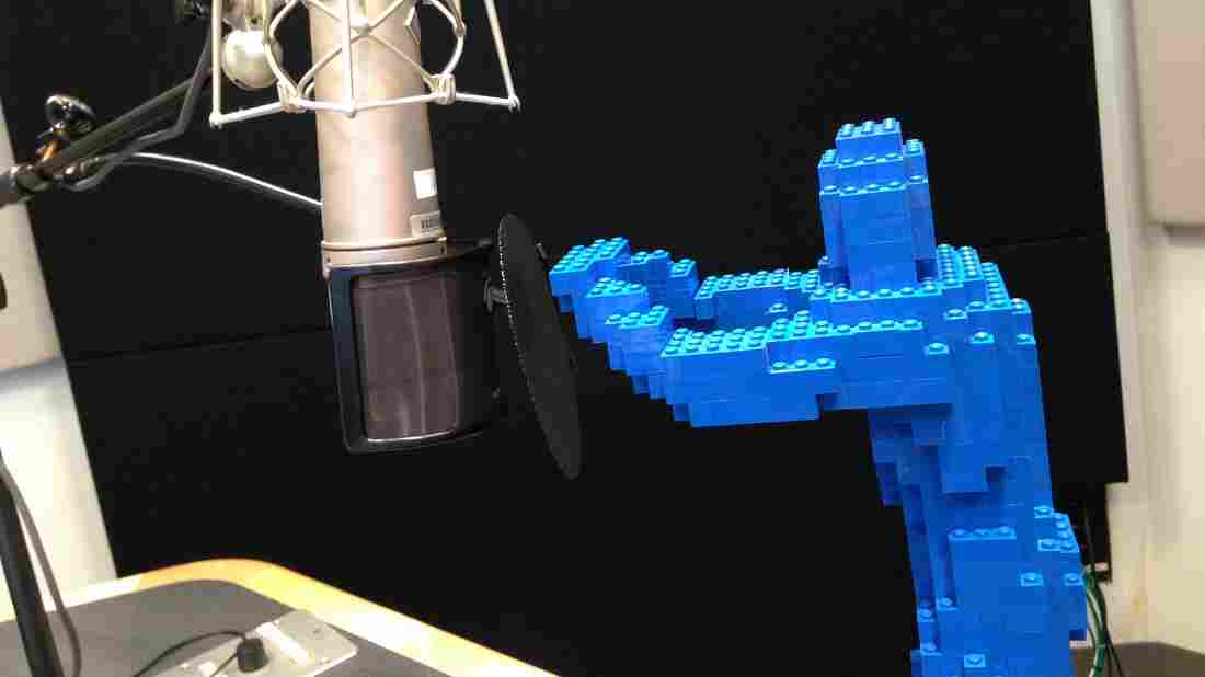 Tap, tap, tap...is this thing on? Nathan Sawaya's LEGO Hugman takes to the airwaves.