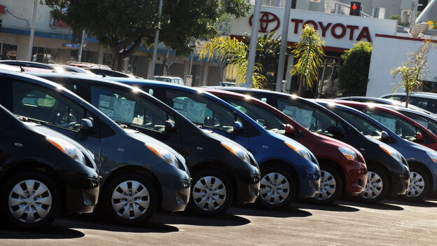 Toyota vehicles at a dealership in Santa Monica, Calif., in February 2010.