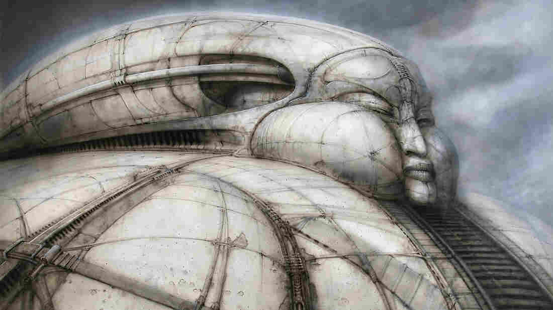 A design sketch, by H.R. Giger, for the Harkonnen Castle as he envisioned it for Alejandro Jodorowski's Dune.