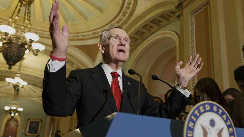 Senate Majority Leader Harry Reid faces reporters on Capitol Hill in Washington on March 11, following a caucus lunch.