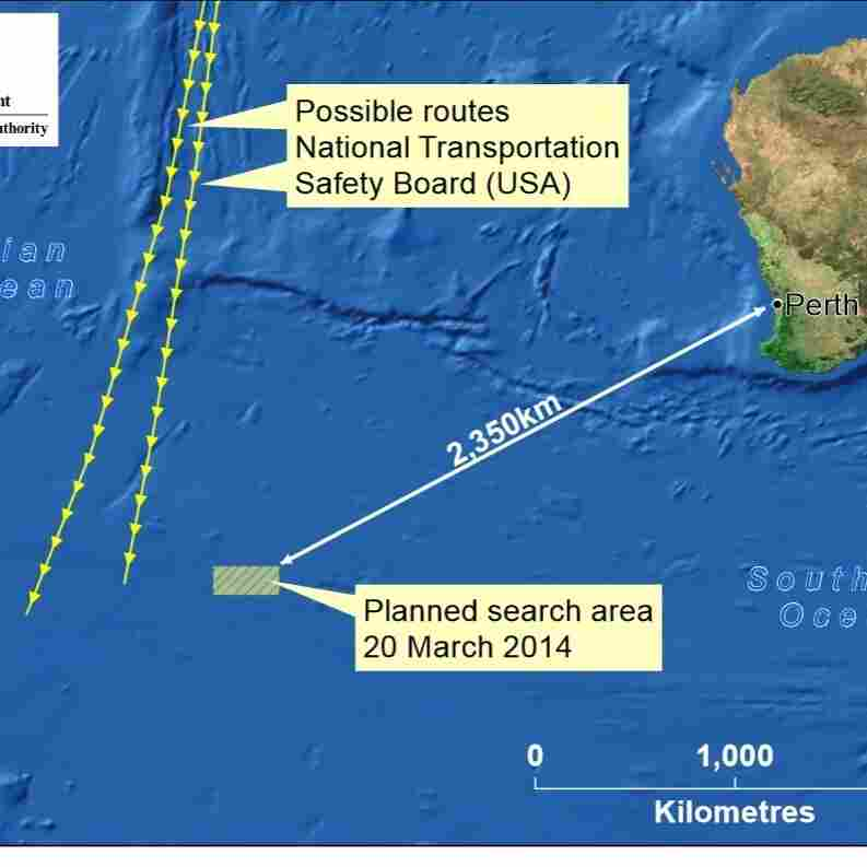This map adds in routes that investigators believe Malaysia Flight 370 might have taken.