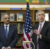 """Education Secretary Arne Duncan, right, and Attorney General Eric Holder, appeared at a Washington, D.C., elementary school and said schools need to reduce """"unnecessary and unfair school discipline practices and other barriers to equity and opportunity at all levels of education."""""""