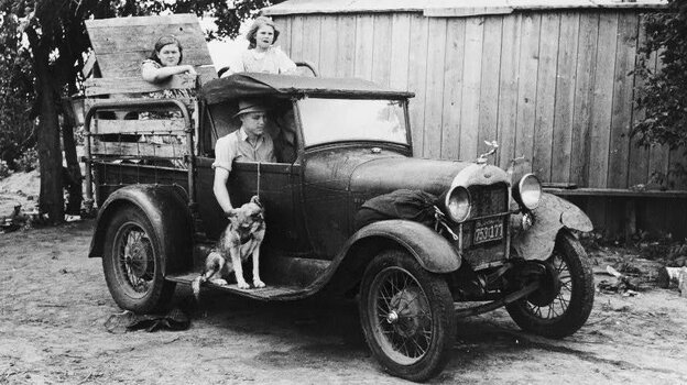 A family prepares to leave Oklahoma for California in 1939, just as the Joads did in John Steinbeck's The Grapes of Wrath.