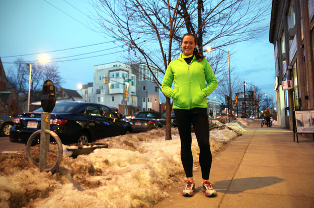 Amelia Nelson, 27, after 6-mile training run for the Boston Marathon.
