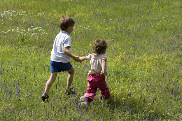 Two children running hand in hand on a meadow on a sunny day.