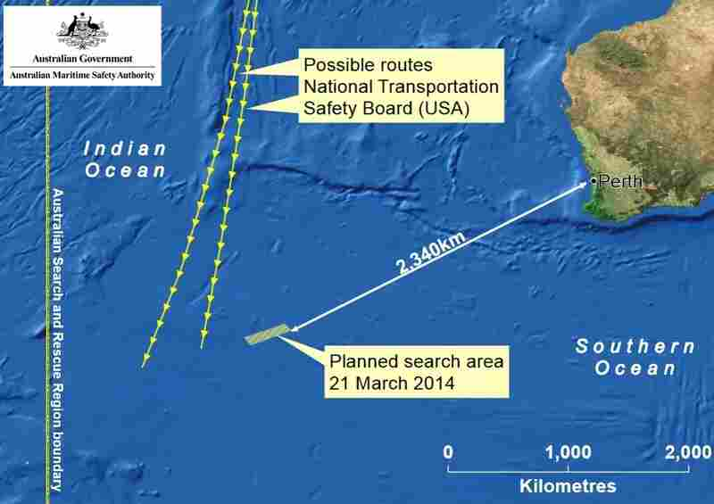 The search area, and the routes that investigators believe Malaysia Airlines Flight 370 might have taken.
