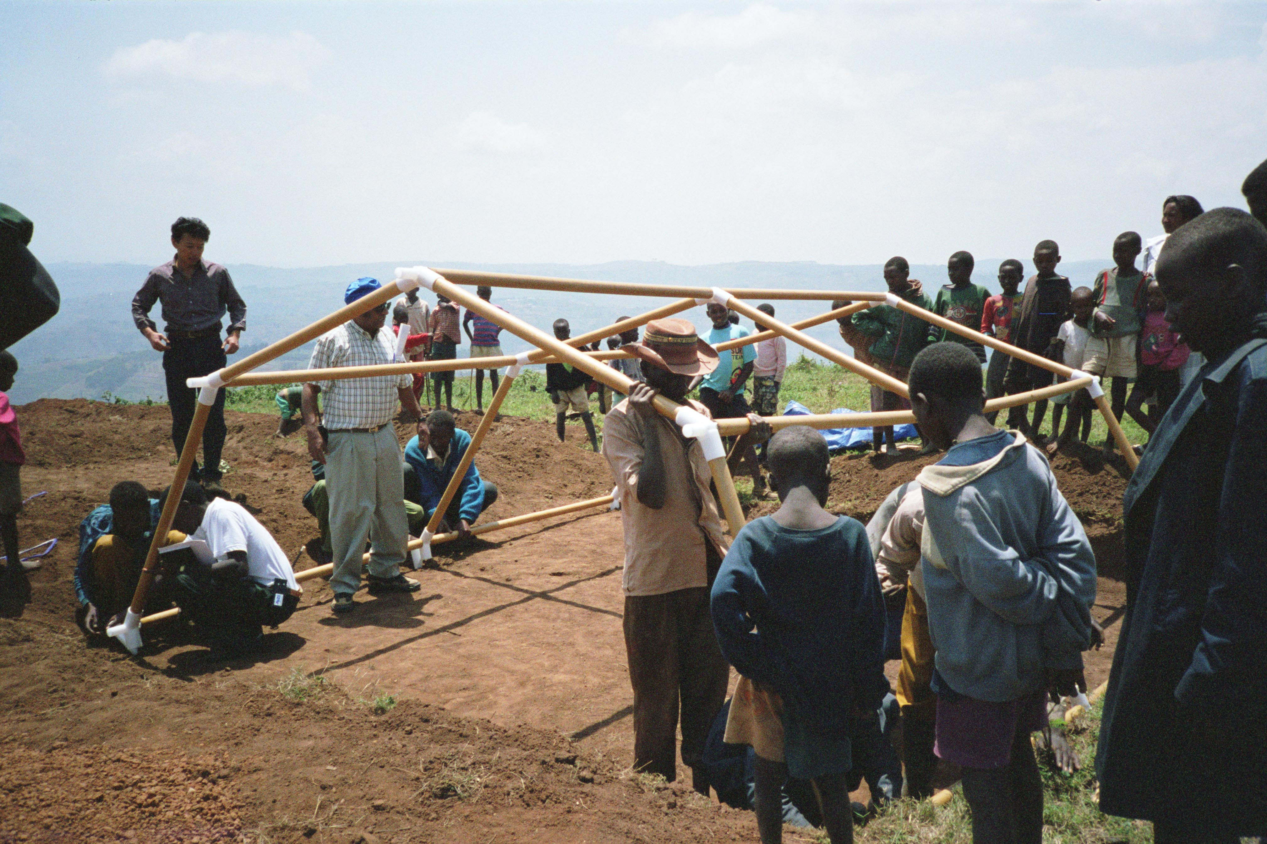 Ban designed temporary shelters for refugees displaced by the civil war in Rwanda in 1994.