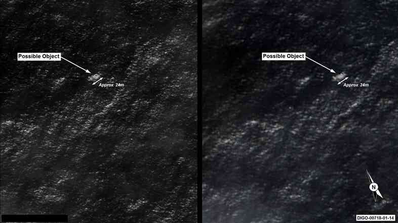 Satellite imagery provided to the Australian Maritime Safety Authority of objects that may be possible debris of the missing Malaysia Airlines Flight MH370.