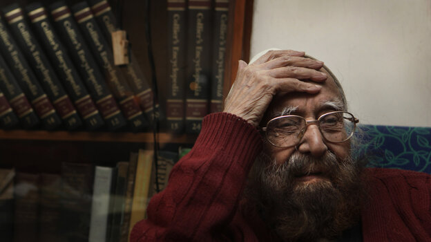 Khushwant Singh, pictured in 2010, sits in his house in New Delhi, India.