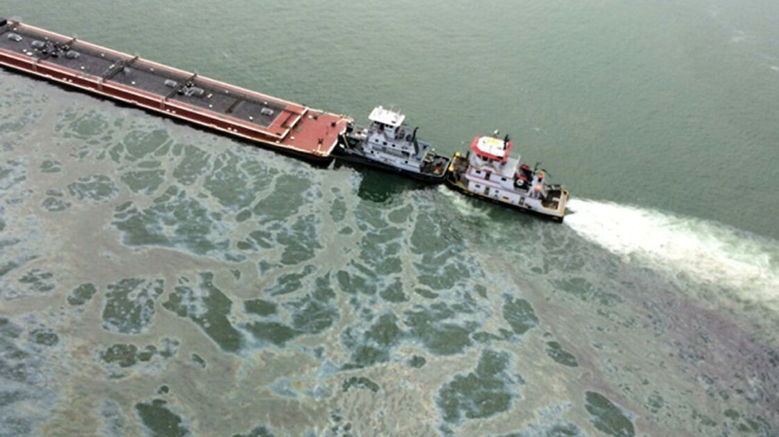 Major oil spill after million-gallon barge collides with ship in Texas thumbnail