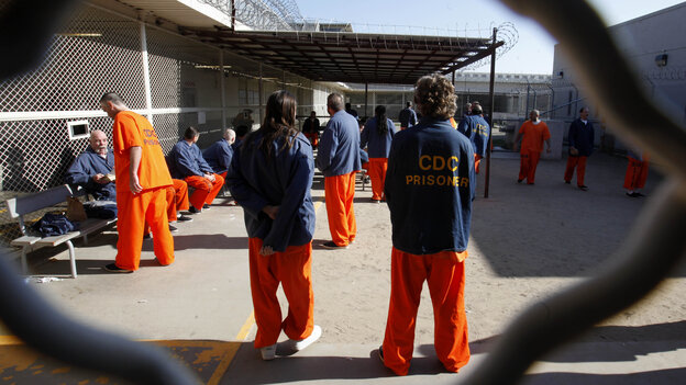 """Inmates in a recreation yard at the Deuel Vocational Institution in Tracy, Calif. California is trying to address court-ordered reductions in overcrowding with a plan to shift thousands of those convicted of """"nonser"""