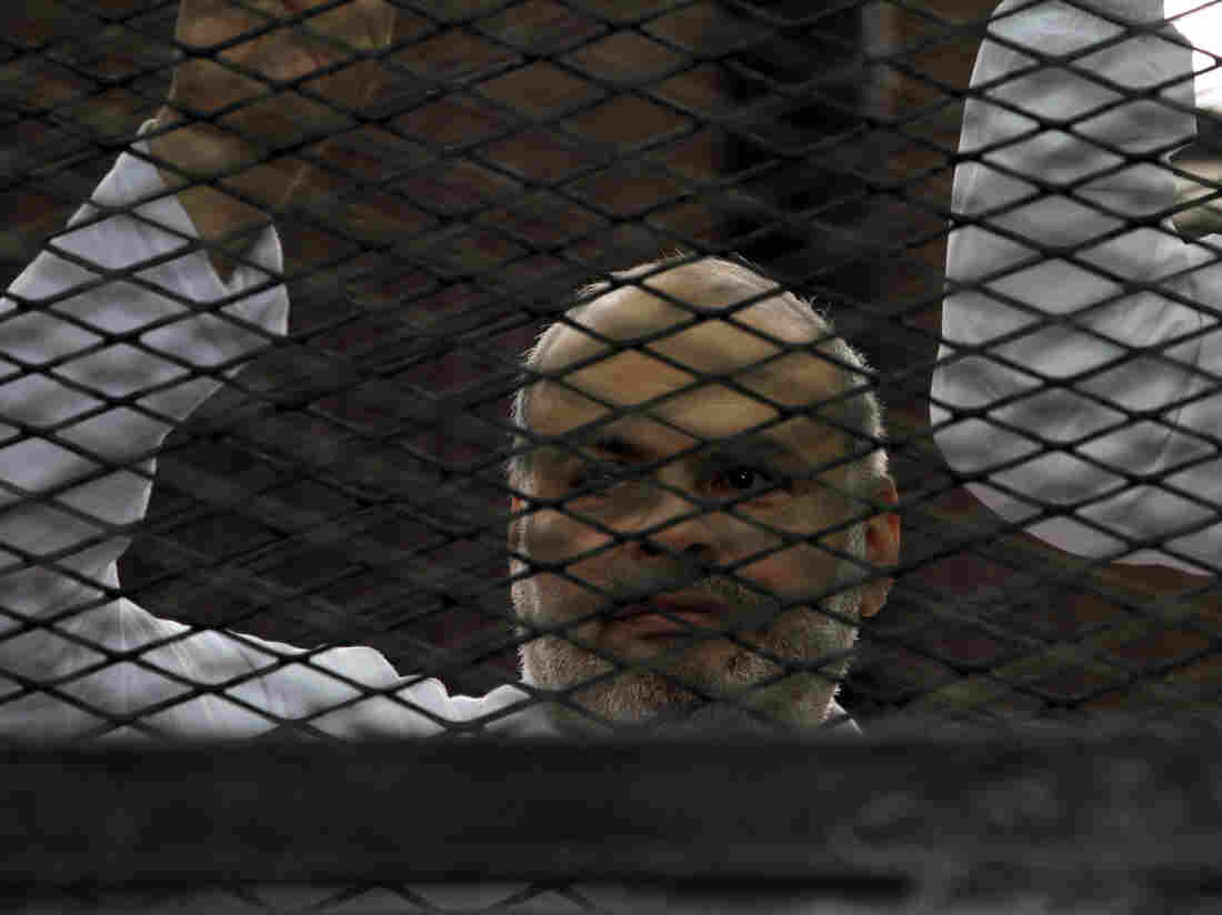 Egyptian supporters of the Muslim Brotherhood are seen during their trial in the killing of a police officer last year.