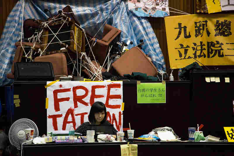 Student protesters occupy the legislature on Monday in Taipei, Taiwan.