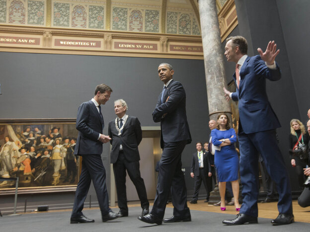 President Obama tours the Rijksmusuem with Dutch Prime Minister Mark Rutte (left) and others ahead of the G-7 summit in The Hague, Netherlands, which is certain to focus on the situati