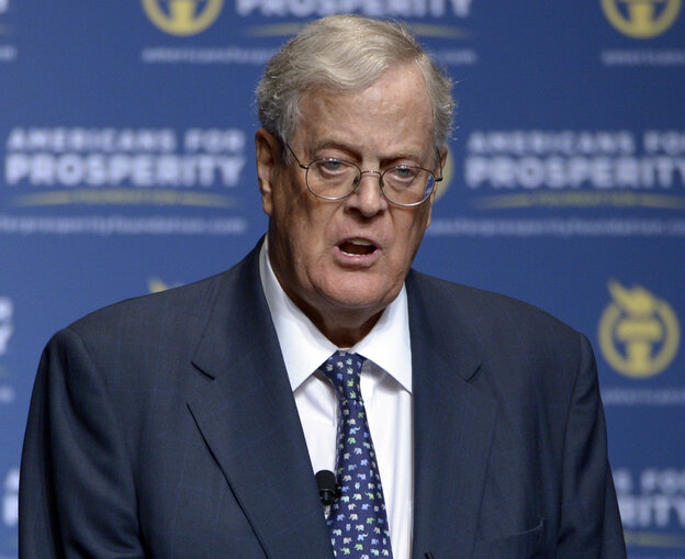 Democrats say they're focused on the Koch brothers because, they allege, Republican candidates are doing the billionaires' bidding. Republicans say Democrats are desperate. David Koch (above) is chairman of Americans for Prosperity.