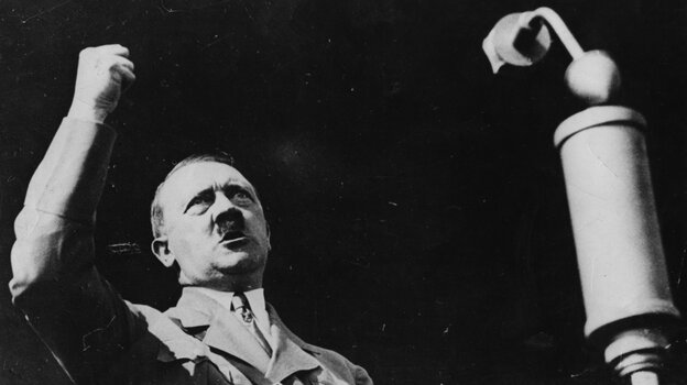 Adolf Hitler, pictured delivering a speech circa 1936.