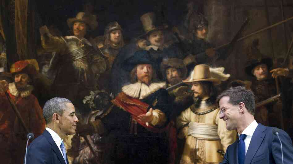 President Obama and Dutch Prime Minister Mark Rutte shake hands in front of Rembrandt's Night Watch after speaking to the press following meetings at the Rijksmuseum in Amsterdam on Monday. Which artwork in the museum best captures the current global mood?