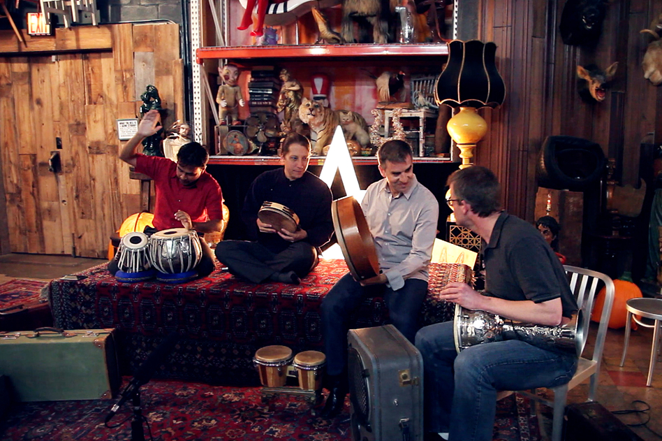 Sandeep Das, Shane Shanahan, Mark Suter and Joseph Gramley, percussionists in the Silk Road Ensemble, perform at ACME Studio in Brooklyn, New York, for a Field Recordings video shoot.