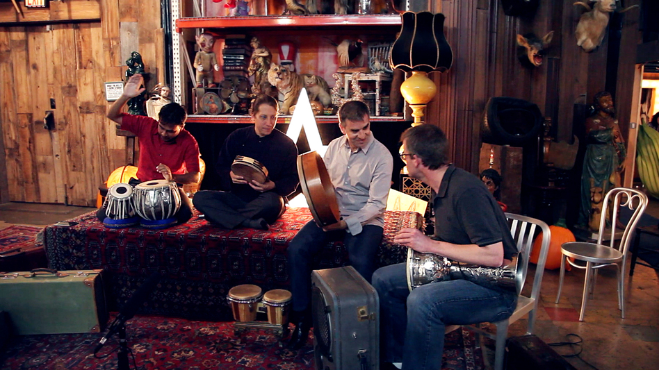 Sandeep Das, Shane Shanahan, Mark Suter and Joseph Gramley, percussionists in the Silk Road Ensemble, perform at ACME Studio in Brooklyn, New York, for a Field Recordings video shoot. (NPR)