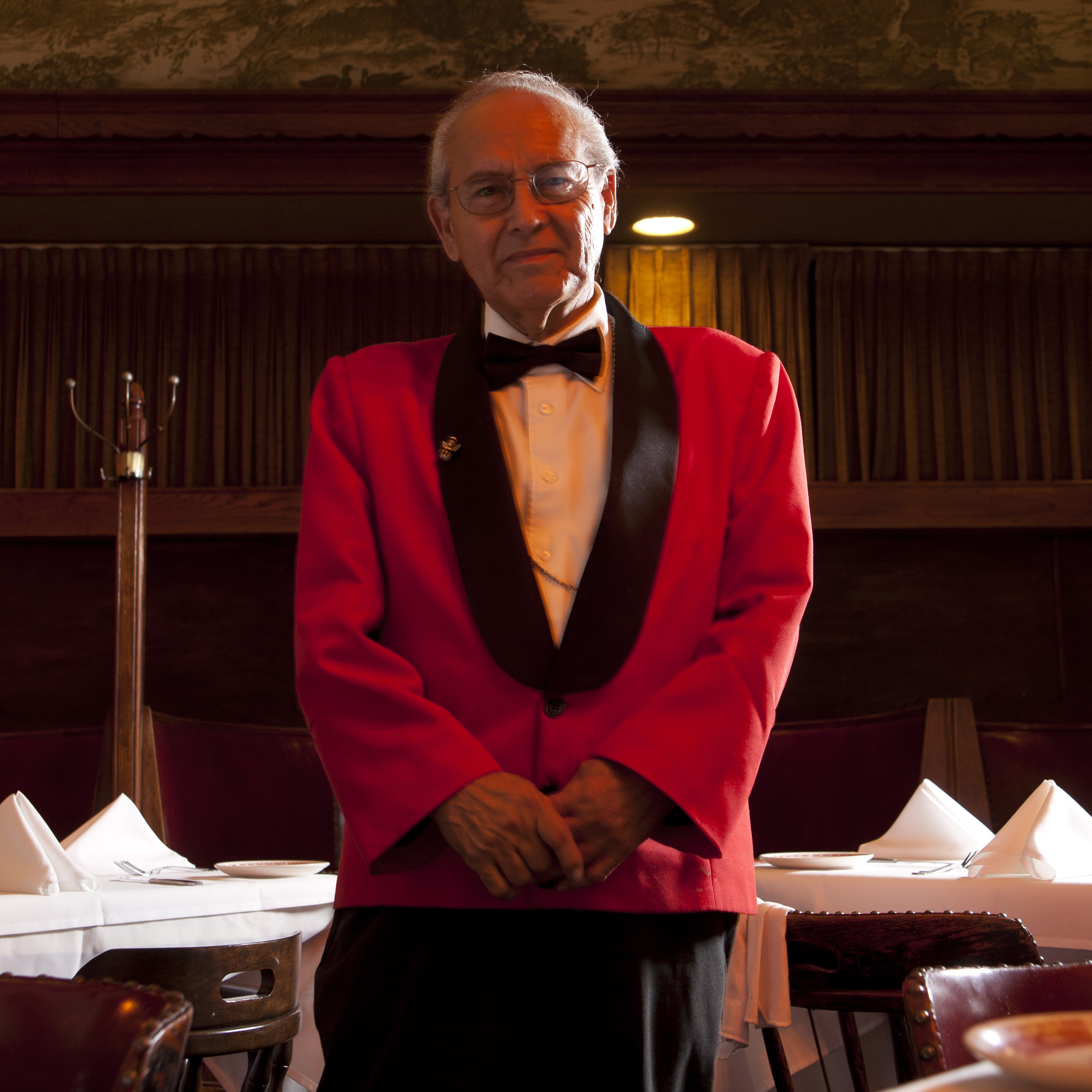 "Waiter Alonzo Castillo -- known as Panama -- is 82 and has worked at Musso and Frank Grill in LA for 40 years. ""I like it here,"" he says, ""so I keep working."""