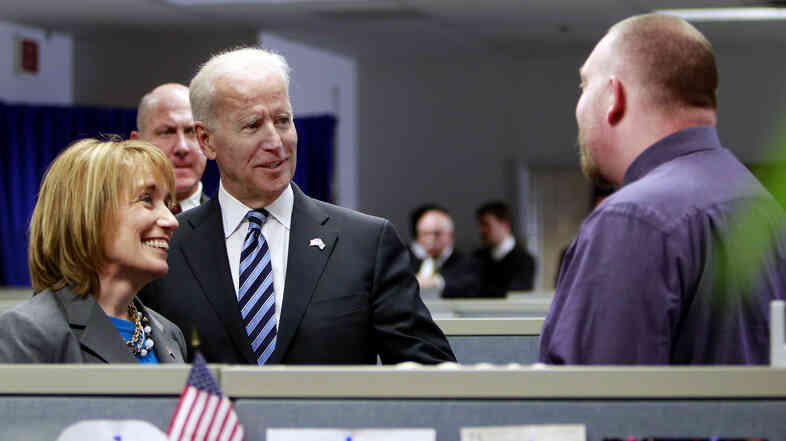 Vice President Biden and N.H. Democratic Gov. Maggie Hassan meet with employees March 25 at the New Hampshire Works center in Manchester.
